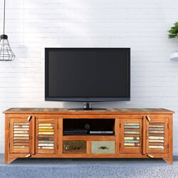 Rustic Reclaimed Wood Rainbow Shutter Doors TV Stand Media Console