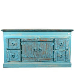 Sky Blue Rustic Reclaimed Wood 4 Drawer Buffet Sideboard Cabinet