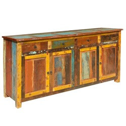 "Appalachian Rustic Multi-Color Old Wood 73"" Buffet Cabinet"