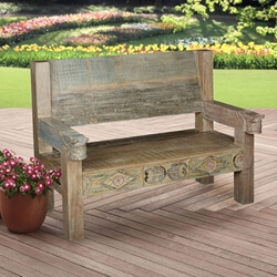 Ozark Hand Carved Reclaimed Wood Porch Bench w High Back