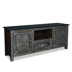 Ebony Sunburst Reclaimed Wood TV Stand Media Console