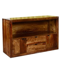 Contemporary Cabin Solid Wood TV Stand Media Console