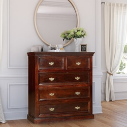 Solid Wood Colonial 5 Chest of Drawers Storage Bedroom Dresser
