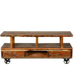 "Reclaimed Wood Industrial Rolling Open Back 58"" TV Media Console"
