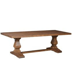 Trestle Pedestal Traditional Eco-Friendly Wood Rustic Dining Table