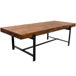 "Industrial Iron & Acacia Wood 94"" Large Rustic Dining Table"