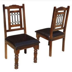 Lincoln Study Solid Wood Leather Upholstered Chairs (Set of Two)