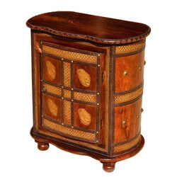 Turkish Golden Elephants Mango Wood & Brass Oval Accent Cabinet