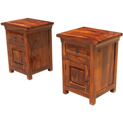 Rustic Farmhouse Indian Rosewood Nightstand End Table Cabinets