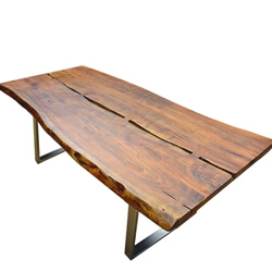 Live Edge Acacia Wood & Iron Rustic Dining Table