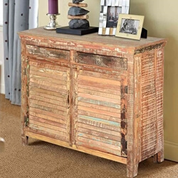 Rustic 2 Drawer 2 Shutter Door Storage Cabinet Reclaimed Wood Buffet