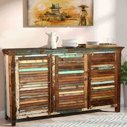 Reclaimed Wood Furniture Rustic Shutter Door Cabinet Sideboard Buffet
