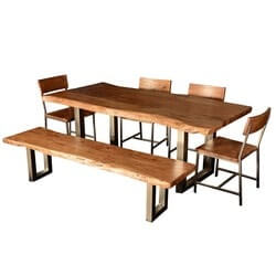 Live Edge Modern Rustic Dining Table & Chair Set w Bench