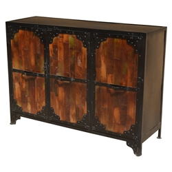 Industrial Reclaimed Wood & Iron 3-Door Buffet Sideboard Cabinet