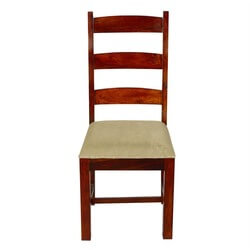 Traditional Solid Rosewood Upholstered Ladder Back Side Dining Chair