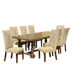 Café Logo Mango Dining Table Set with Fabric Upholstered Chairs