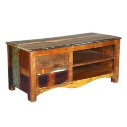 Retro Style Reclaimed Wood Media Console with 2 Drawers & 2 Shelves