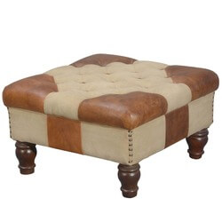Multi-Use Leather & Canvas Ottoman Versatile and Ultra Attractive