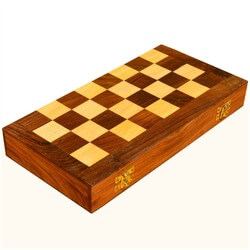 Traditional Solid Mango Wood Chess Set & Chess Board w Storage