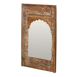 "Taj Mahal Hand Carved Reclaimed Wood 44"" Wall Mirror"