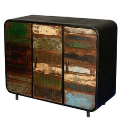 Retro Reclaimed Wood & Iron 3 Door Industrial Sideboard Buffet