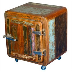 Rustic Farmhouse Ice Box Reclaimed Wood Rolling End Table Cabinet