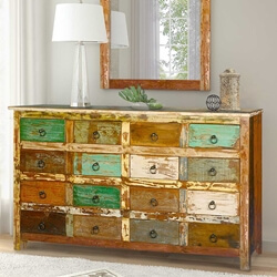 Retro Rustic Reclaimed Wood 16 Drawer Dresser Chest