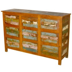 Rustic Reclaimed Wood Weathered 9 Drawer Dresser Furniture