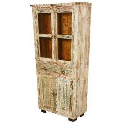 "Winter Night Reclaimed Wood Scalloped 74"" Standing Wall Cabinet"