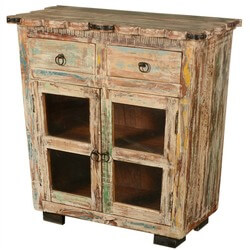 Winter Night Reclaimed Wood Scalloped Edge Display Buffet Cabinet