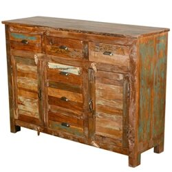 Reclaimed Wood Rustic Furniture 6-Drawer Buffet Sideboard Cabinet