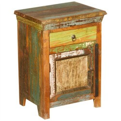 New Memories Rustic Reclaimed Wood Night Stand End Table Cabinet