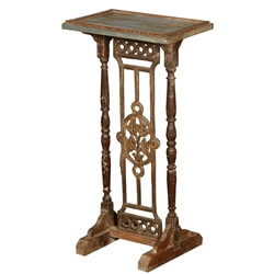 Empire Double Pedestal Reclaimed Wood & Iron Accessory Table