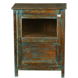 New Memories Reclaimed Wood Night Stand End Table Cabinet w Window
