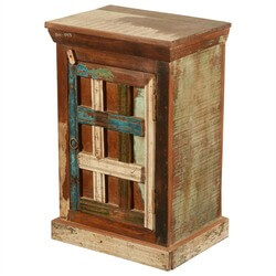 New Memories Rustic Reclaimed Wood Mini End Table Cabinet