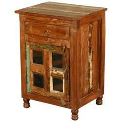 New Memories Reclaimed Wood Rustic Windowpane End Table Cabinet