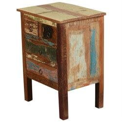 Paint Box Rustic Reclaimed Wood Standing End Table w Drawers
