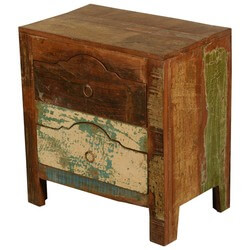New Memories Rustic Reclaimed Wood Arched Top Drawers Night Stand