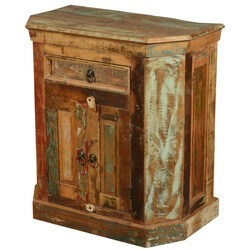 Rustic Reclaimed Wood Weathered End Table with 2 Doors and 1 Drawer