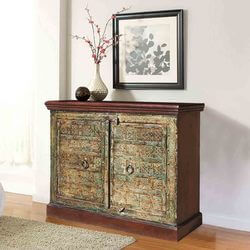 Gothic 2 Door Reclaimed Wood Furniture Storage Buffet Accent Cabinet
