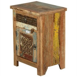 Rustic Reclaimed Old Wood Hand Carved End Table