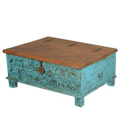 Sky Blue Primitive Carvings Reclaimed Wood Standing Storage Chest