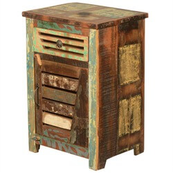 Rustic Reclaimed Wood Bedside End Table with Shutter Style Door