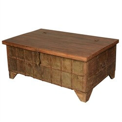 Spice Road Treasure Reclaimed Wood Standing Coffee Table Chest