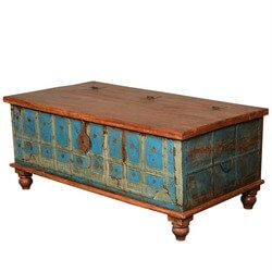 Sky Blue & Brown Rustic Reclaimed Wood Standing Coffee Table Trunk