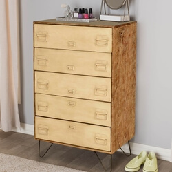 Industrial File Cabinet Mango Wood & Iron 5 Drawer Dresser