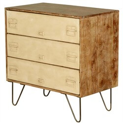 Industrial Mango Wood & Iron File Cabinet 3-Drawer Dresser
