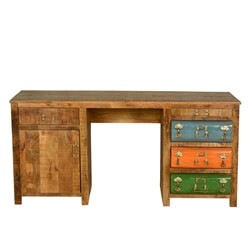 Steam Punk Colorful Drawers Mango Wood & Iron Office Desk
