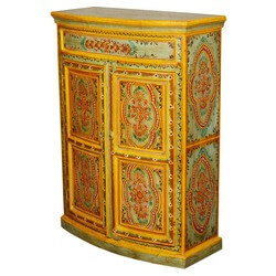 Hand Painted Sun Garden Mango Wood Storage Cabinet