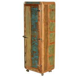 Retro Rustic Reclaimed Wood Rolling Armoire Cabinet